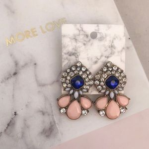 Blue and Blush Statement Earrings